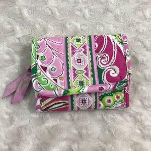 Vera Bradley Pinwheel Pink Wallet Tri Fold Green